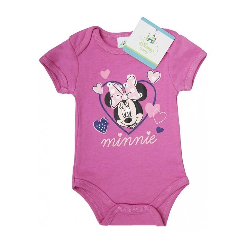 Minnie Mouse Disney mesefigurával díszített rövid ujjú rózsaszín pamut body.  Kitűnő választás mindennapi használatra a nyári jó időben. 78c2899fd3